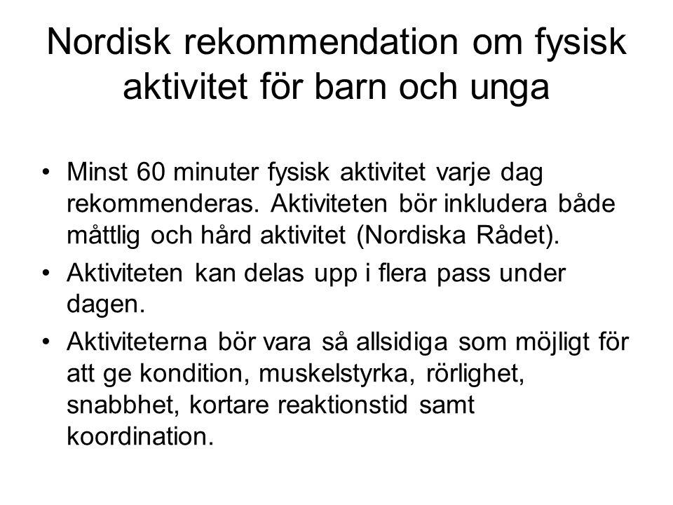 Nordisk rekommendation om fysisk aktivitet för barn och unga