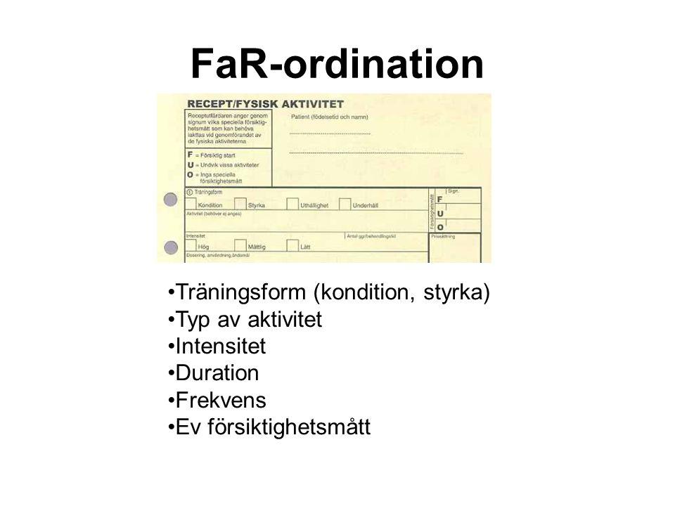 FaR-ordination Träningsform (kondition, styrka) Typ av aktivitet