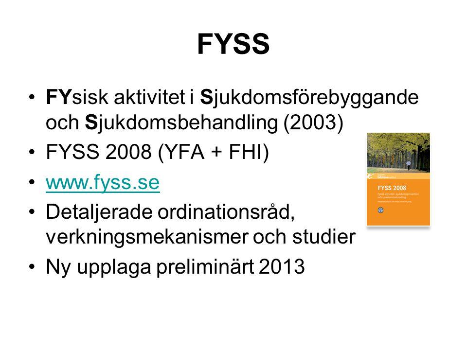 FYSS FYsisk aktivitet i Sjukdomsförebyggande och Sjukdomsbehandling (2003) FYSS 2008 (YFA + FHI) www.fyss.se.