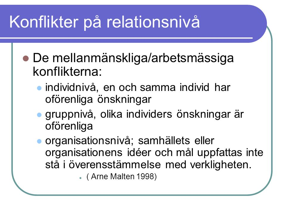 Konflikter på relationsnivå