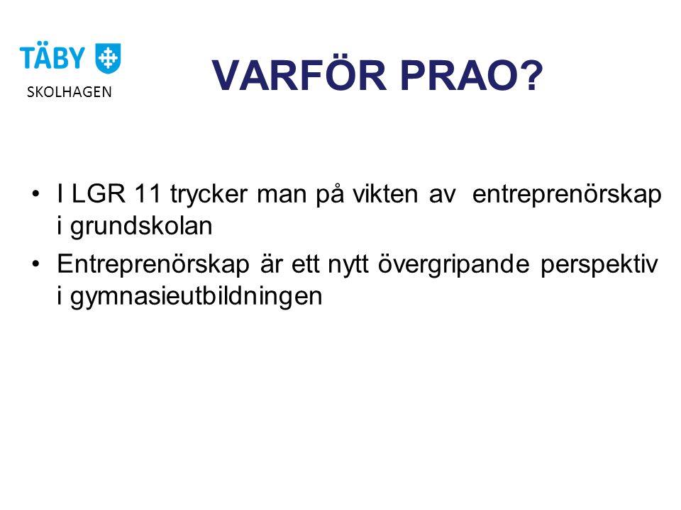 VARFÖR PRAO SKOLHAGEN. I LGR 11 trycker man på vikten av entreprenörskap i grundskolan.