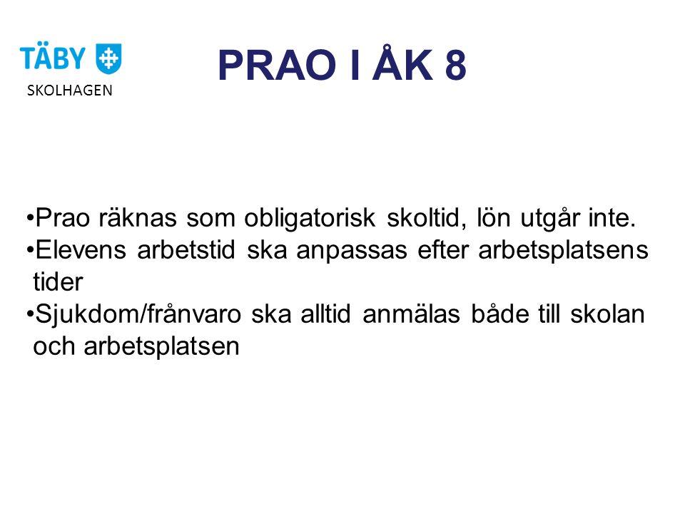 PRAO I ÅK 8 Prao räknas som obligatorisk skoltid, lön utgår inte.