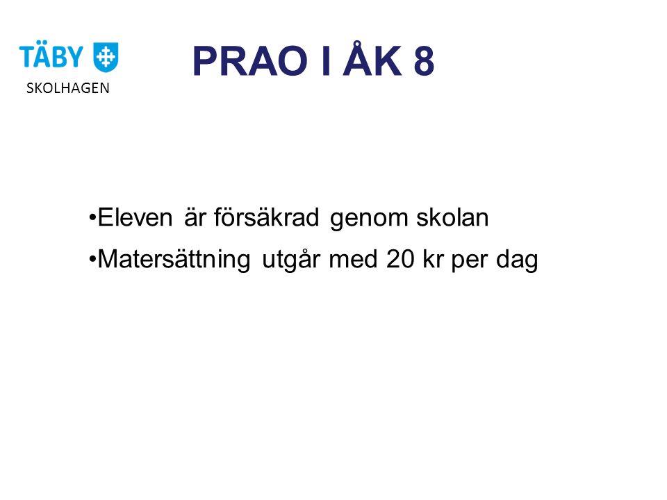 PRAO I ÅK 8 Eleven är försäkrad genom skolan