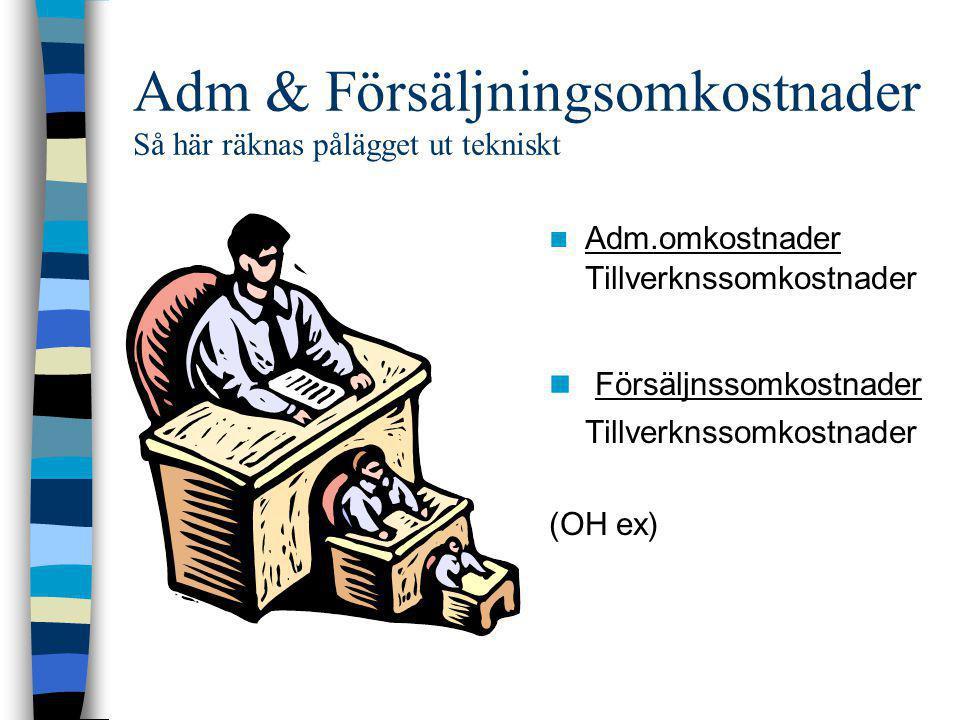 Adm & Försäljningsomkostnader Så här räknas pålägget ut tekniskt