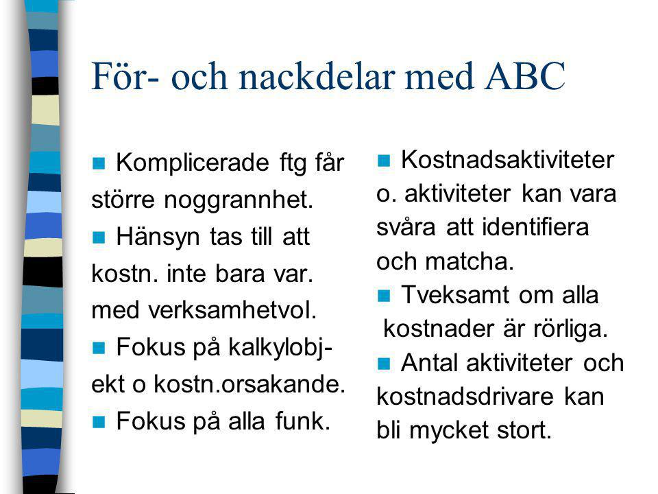 För- och nackdelar med ABC