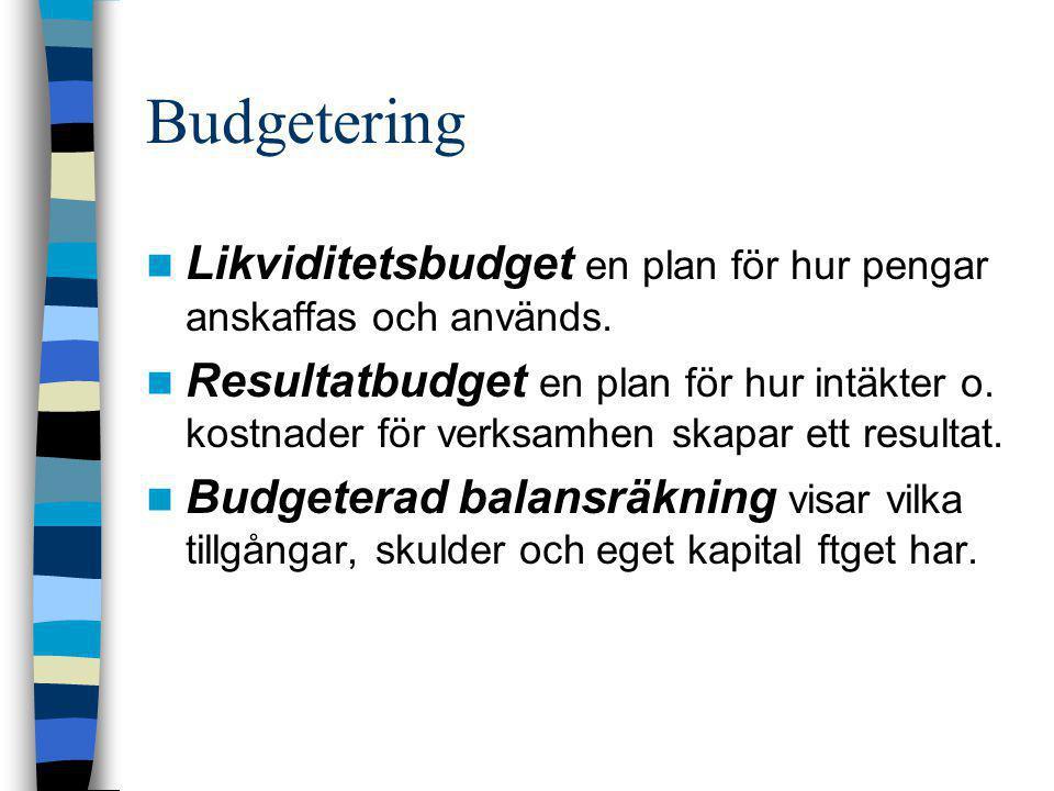 Budgetering Likviditetsbudget en plan för hur pengar anskaffas och används.