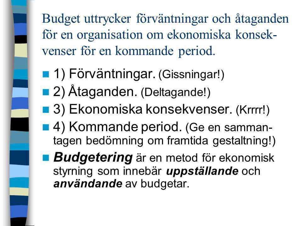 Budget uttrycker förväntningar och åtaganden för en organisation om ekonomiska konsek-venser för en kommande period.