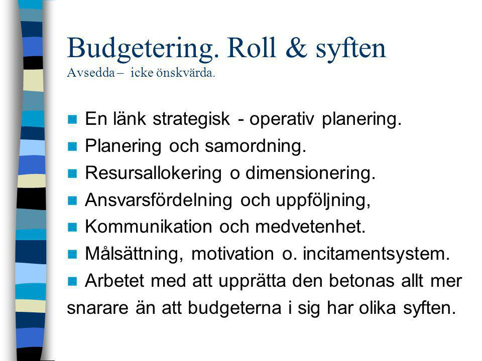 Budgetering. Roll & syften Avsedda – icke önskvärda.