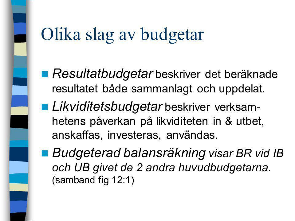 Olika slag av budgetar Resultatbudgetar beskriver det beräknade resultatet både sammanlagt och uppdelat.