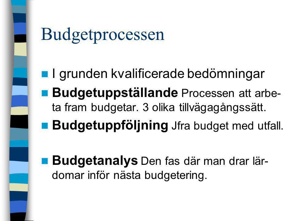 Budgetprocessen I grunden kvalificerade bedömningar