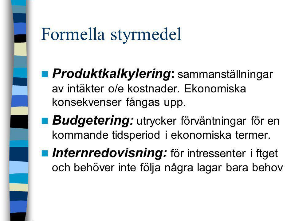 Formella styrmedel Produktkalkylering: sammanställningar av intäkter o/e kostnader. Ekonomiska konsekvenser fångas upp.