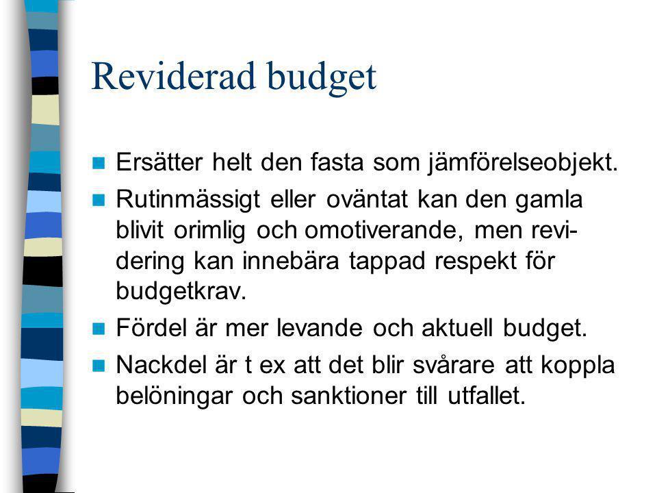 Reviderad budget Ersätter helt den fasta som jämförelseobjekt.