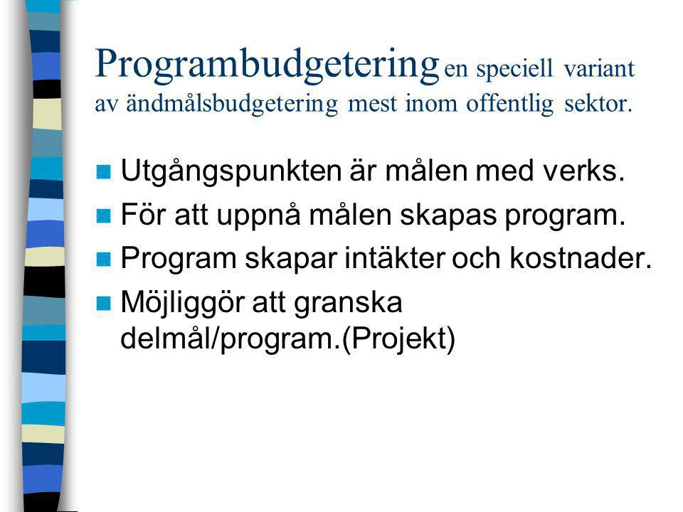 Programbudgetering en speciell variant av ändmålsbudgetering mest inom offentlig sektor.
