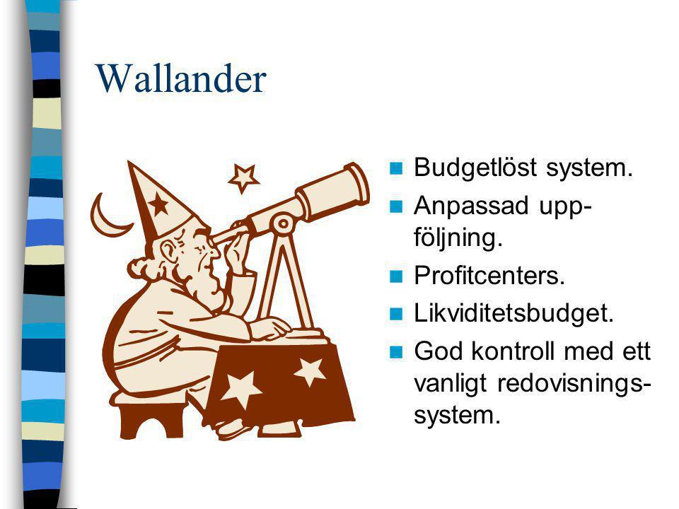 Wallander Budgetlöst system. Anpassad upp-följning. Profitcenters.