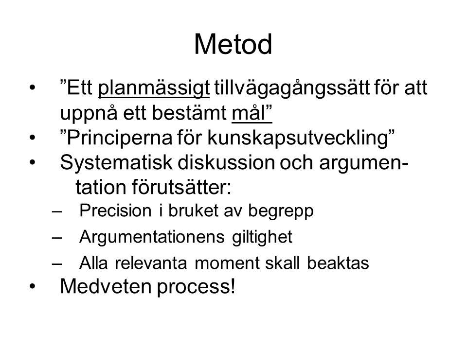 Metod Ett planmässigt tillvägagångssätt för att uppnå ett bestämt mål Principerna för kunskapsutveckling