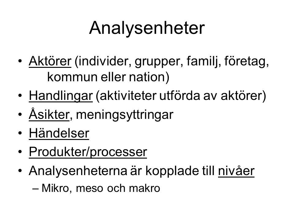 Analysenheter Aktörer (individer, grupper, familj, företag, kommun eller nation) Handlingar (aktiviteter utförda av aktörer)