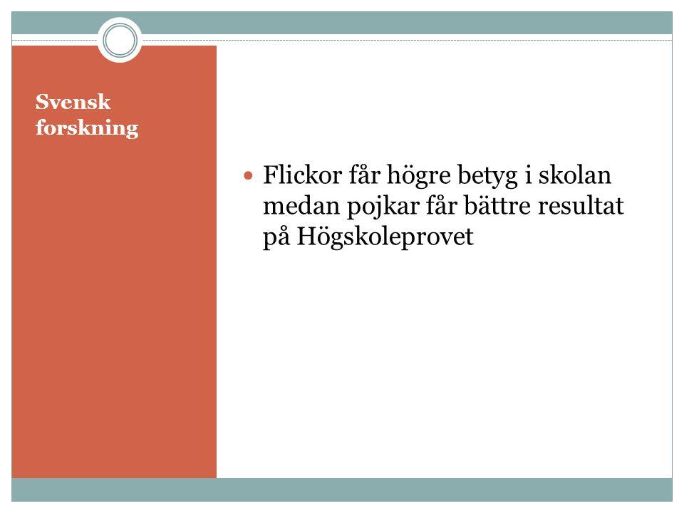 Svensk forskning Flickor får högre betyg i skolan medan pojkar får bättre resultat på Högskoleprovet.