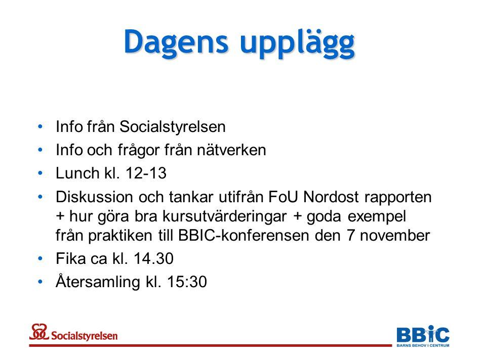 Dagens upplägg Info från Socialstyrelsen