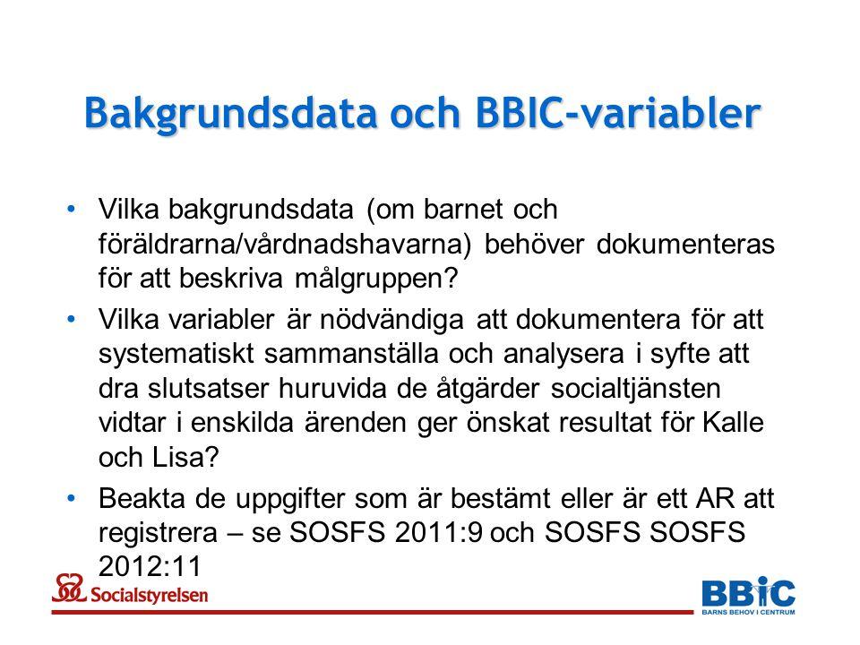 Bakgrundsdata och BBIC-variabler