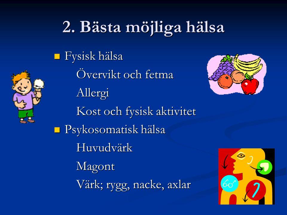 2. Bästa möjliga hälsa Fysisk hälsa Övervikt och fetma Allergi