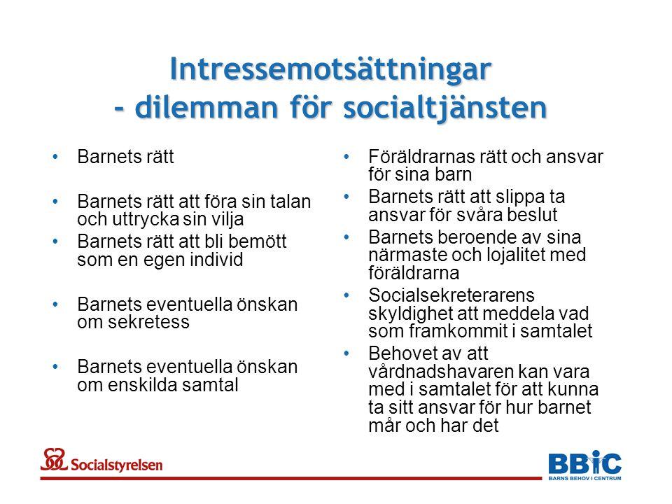 Intressemotsättningar - dilemman för socialtjänsten