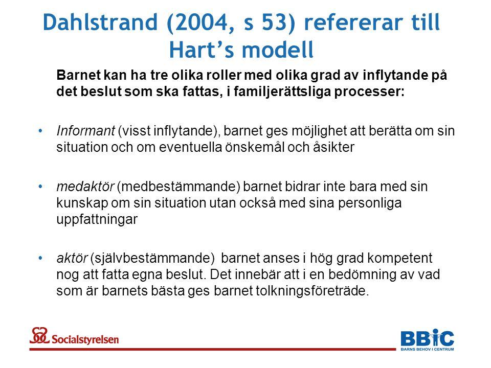 Dahlstrand (2004, s 53) refererar till Hart's modell