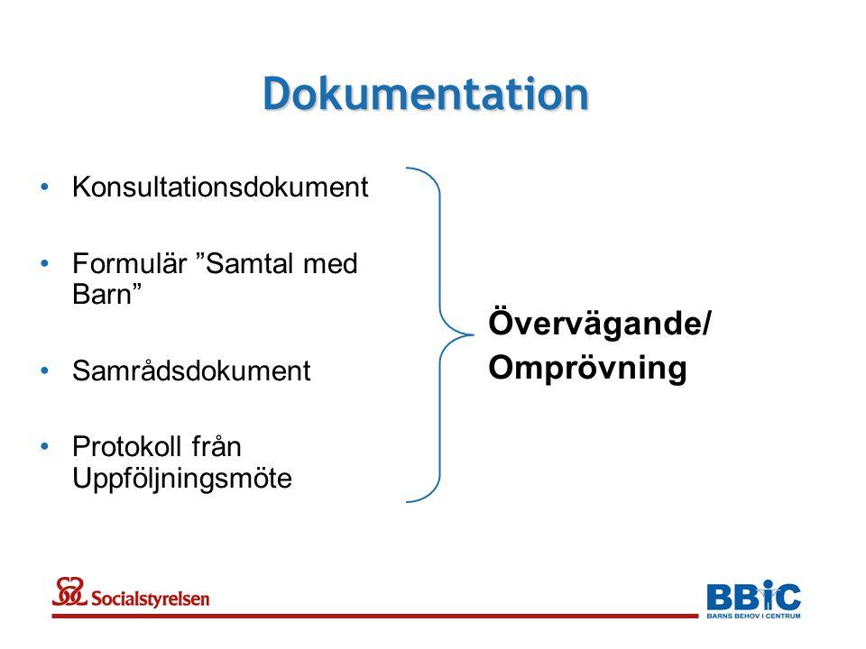 Dokumentation Övervägande/ Omprövning Konsultationsdokument