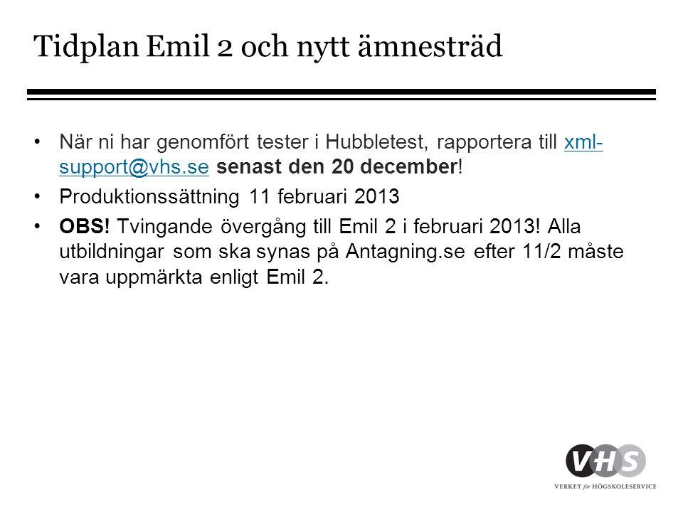 Tidplan Emil 2 och nytt ämnesträd