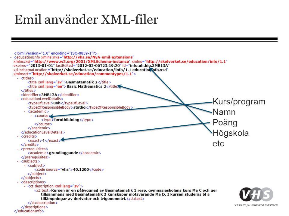 Emil använder XML-filer