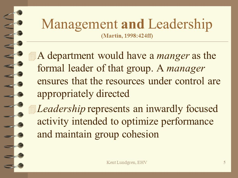 Management and Leadership (Martin, 1998:424ff)
