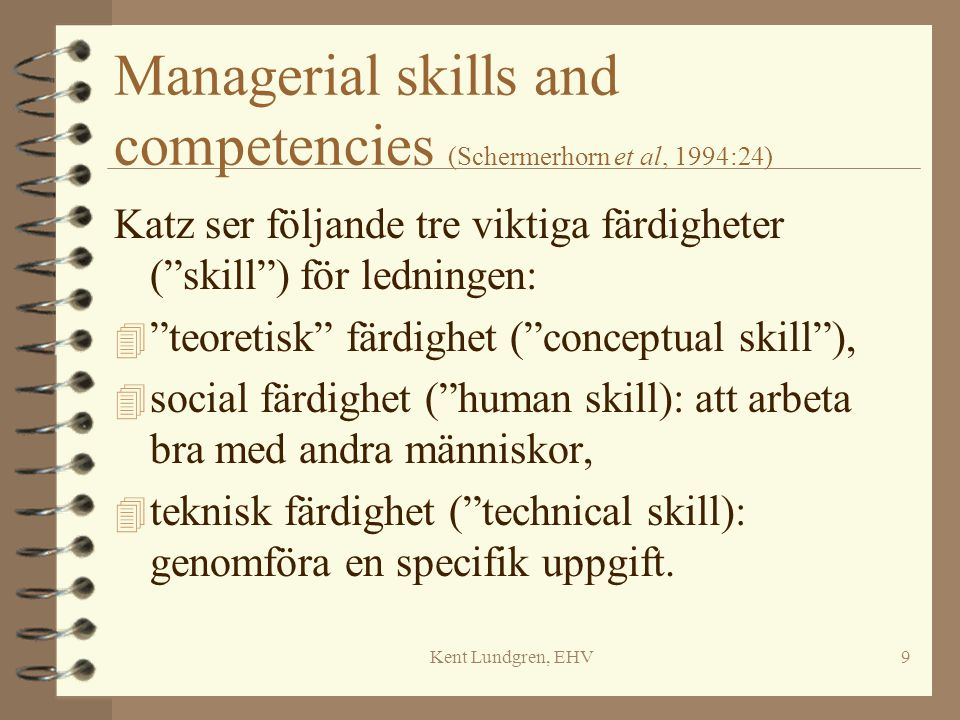 Managerial skills and competencies (Schermerhorn et al, 1994:24)