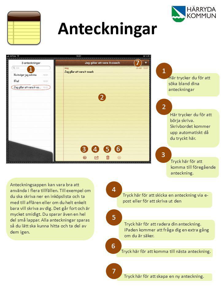 Anteckningar 7. 1. 1. Här trycker du för att söka bland dina anteckningar. 2. 2.