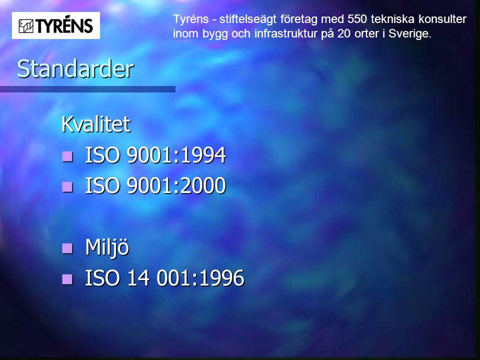 Standarder Kvalitet ISO 9001:1994 ISO 9001:2000 Miljö ISO 14 001:1996