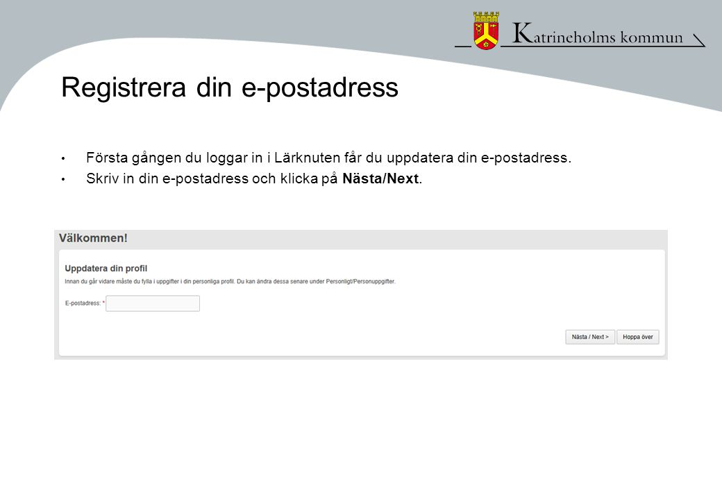 Registrera din e-postadress