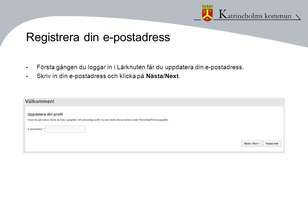 Registrera din e-postadress
