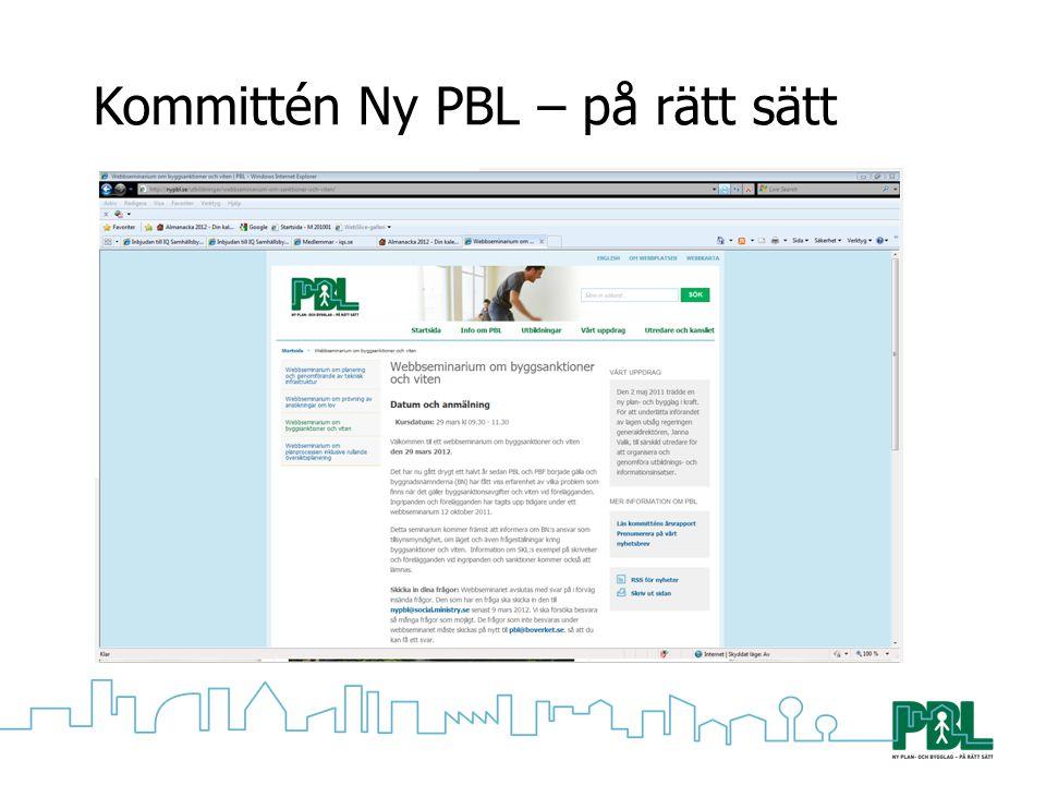 Kommittén Ny PBL – på rätt sätt