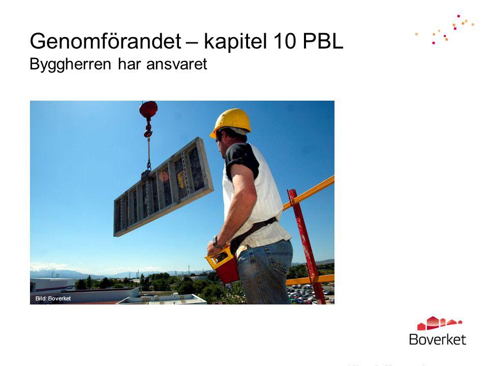 Genomförandet – kapitel 10 PBL Byggherren har ansvaret