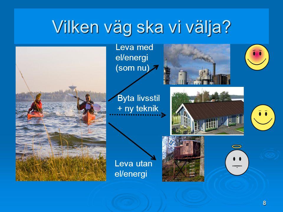 Vilken väg ska vi välja Leva med el/energi (som nu) Byta livsstil