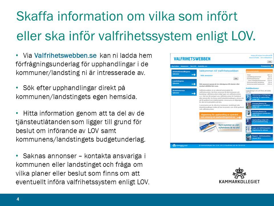 Skaffa information om vilka som infört eller ska inför valfrihetssystem enligt LOV.