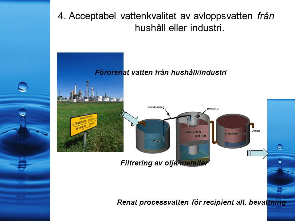 4. Acceptabel vattenkvalitet av avloppsvatten från hushåll eller industri.