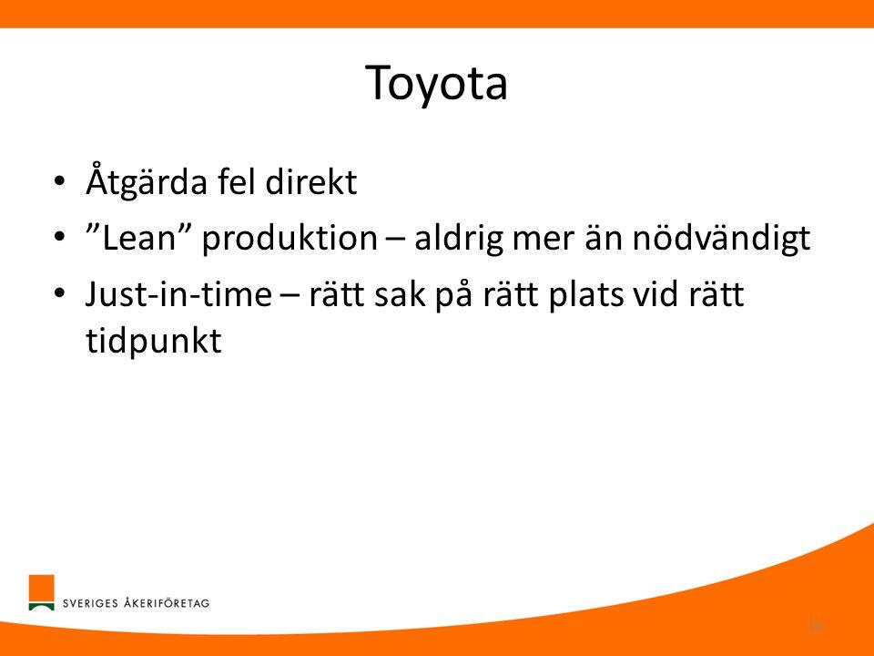 Toyota Åtgärda fel direkt Lean produktion – aldrig mer än nödvändigt
