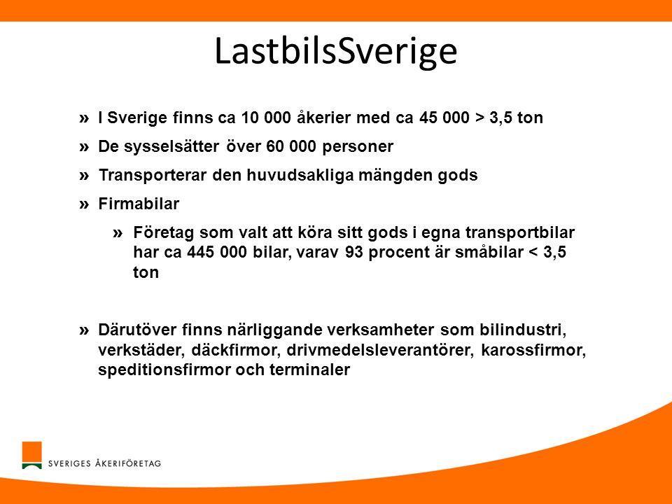 LastbilsSverige I Sverige finns ca 10 000 åkerier med ca 45 000 > 3,5 ton. De sysselsätter över 60 000 personer.