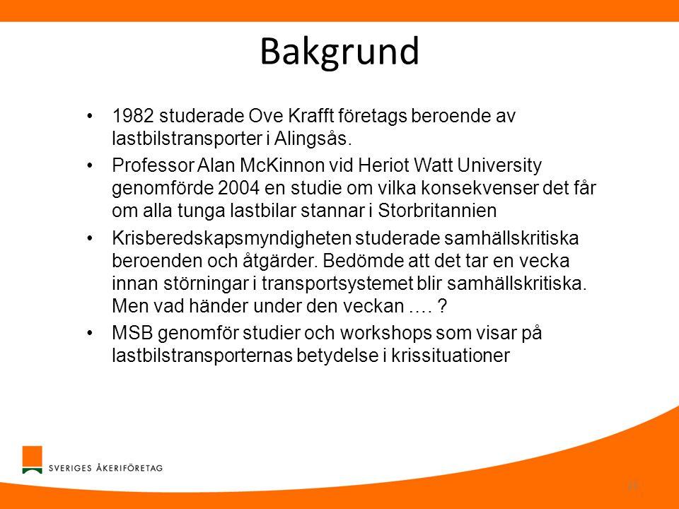 Bakgrund 1982 studerade Ove Krafft företags beroende av lastbilstransporter i Alingsås.