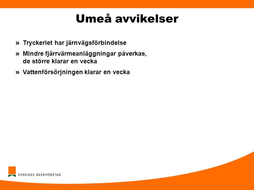 Umeå avvikelser Tryckeriet har järnvägsförbindelse