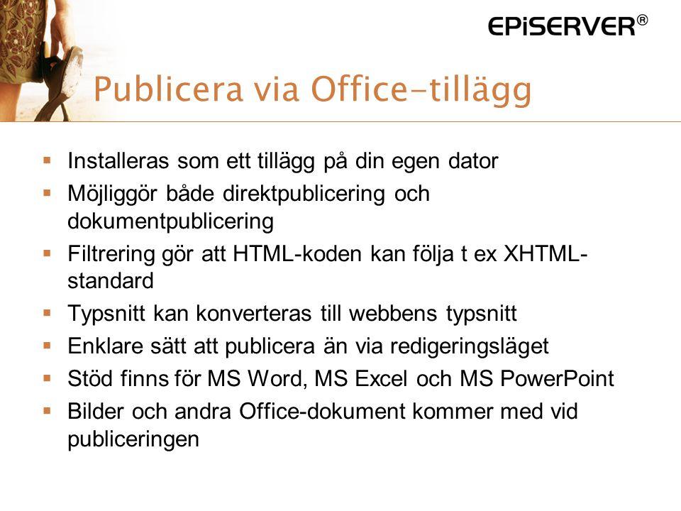 Publicera via Office-tillägg
