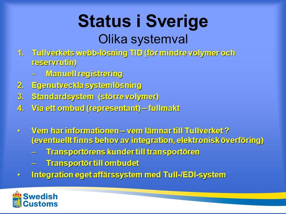 Status i Sverige Olika systemval