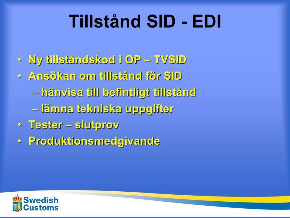 Tillstånd SID - EDI Ny tillståndskod i OP – TVSID