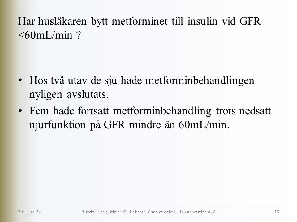Har husläkaren bytt metforminet till insulin vid GFR <60mL/min