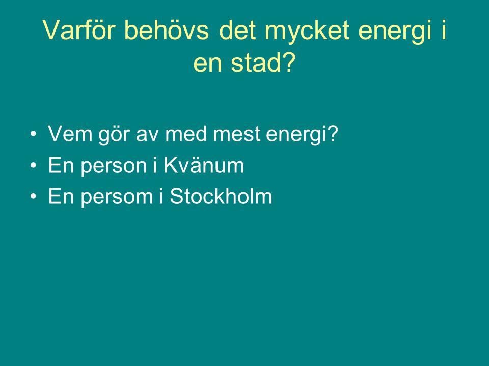 Varför behövs det mycket energi i en stad
