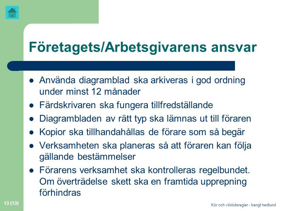 Företagets/Arbetsgivarens ansvar